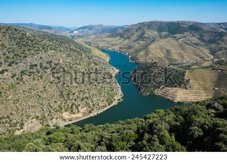 Landscape Photo : Beautiful view over the Port Wine vineyards in the Douro Region, by the river, in Portugal on Fall / Autumn. - stock photo