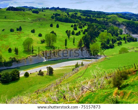 Landscape photo from New Zealand - nature and river - stock photo