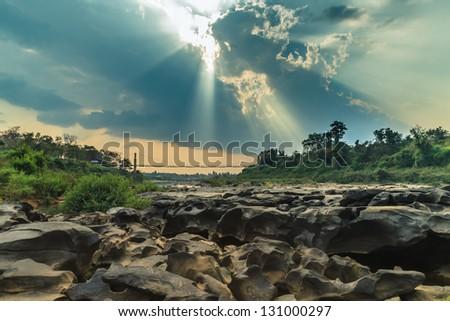Landscape Rapid Tana National Park, Ubon Ratchathani, Thailand. - stock photo