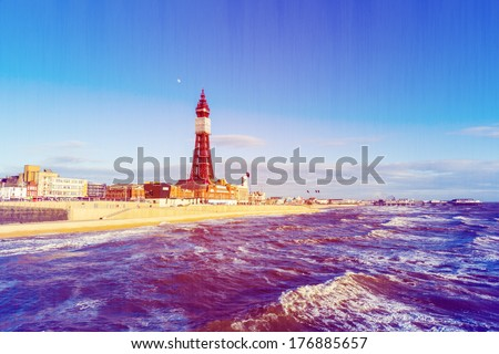 Landscape Retro Photo Filter Effect Blackpool Tower, from the North Pier, Lancashire, England, UK - stock photo