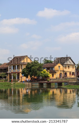 Landscape riverside with ancient house in Hoi An, Vietnam  - stock photo