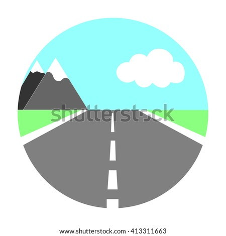 landscape road mountain in circle raster copy. - stock photo