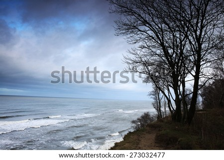 landscape sea coast waves fall - stock photo