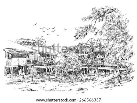 landscape sketch of fishing village in summer - stock photo