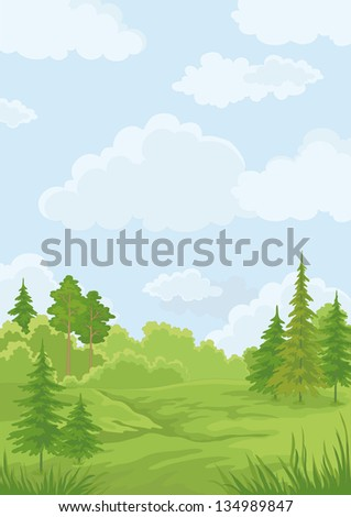 Landscape: summer green forest and blue sky - stock photo
