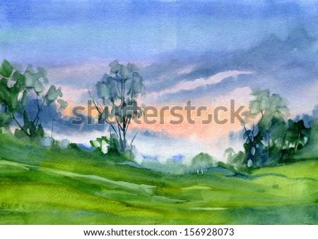 Landscape. Sunset. Watercolor. - stock photo