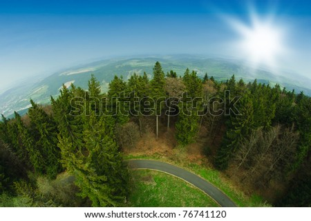 landscape through fish eye lens - stock photo