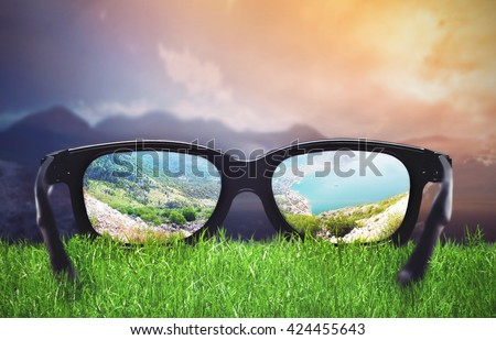 Landscape through the glasses - stock photo
