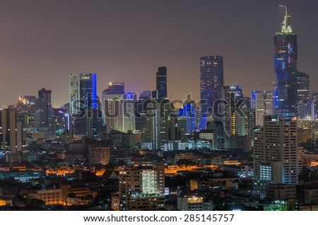 Landscape view Building central business district of Bangkok at night. - stock photo