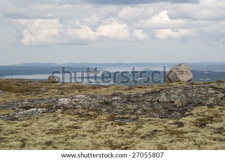landscape view from the hills near the Murmansk to the kolskiy gulf - stock photo