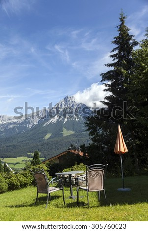 Landscape view from Tyrol, Mountain Wilder Kaiser. Look from Ellmau. - stock photo