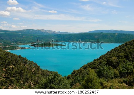 Landscape view in Sainte Croix du Verdon, Provence, France, azul lake in Verdon , France, mountains view, amazing emerald mountains lake in South of France, Provence. Provence landscape on cloudy day - stock photo
