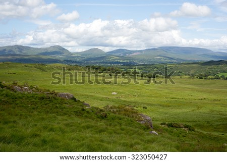 landscape view of a beautiful hiking route the kerry way in ireland - stock photo