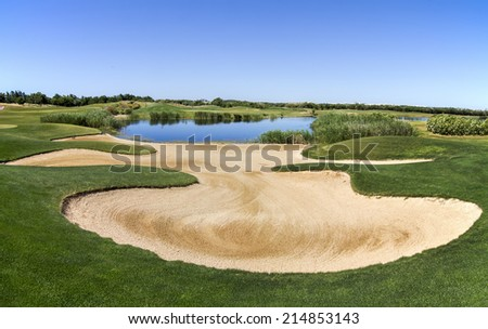 Landscape view of a golf course in the Algarve. - stock photo