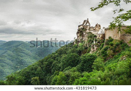 Landscape view of Aggstein Castle on Danube, Austria - stock photo