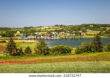 Landscape view of bay near Cavendish, Prince Edward Island, Canada - stock photo