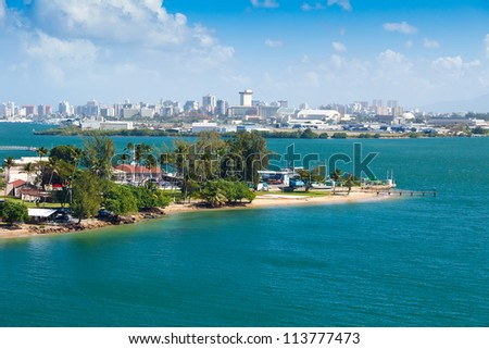 Landscape view of city of San Juan, Puerto Rico - stock photo