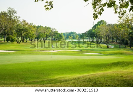 landscape view of golf course at Thailand - stock photo