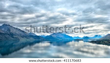 Landscape view of Queenstown, New Zealand - stock photo