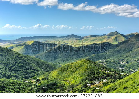 Landscape view of Salinas in Puerto Rico. - stock photo