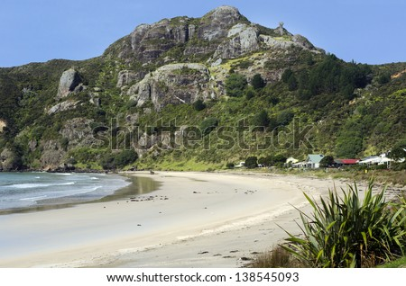 Landscape view of Taupo Bay coastline on the east shore of Northland New Zealand. - stock photo