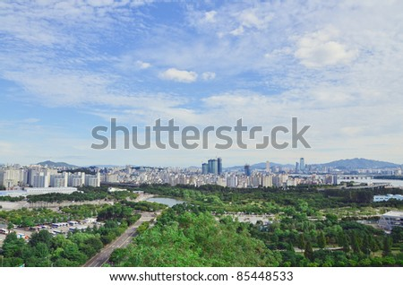 Landscape view of  Town and Park – Seoul - stock photo