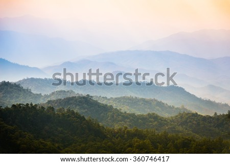 Landscape view on Huai Nam Dang National Park with morning Mist at Tropical Mountain Range, Mae Hong Son, Thailand - stock photo