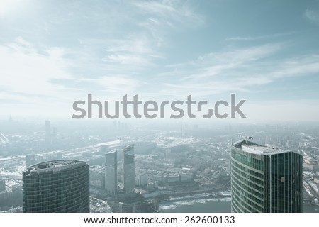 Landscape view over Moscow city from Federation Tower - stock photo