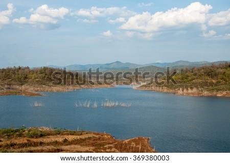 Landscape, view river with mountain light reflections and blue cloudy sky in daytime  - stock photo