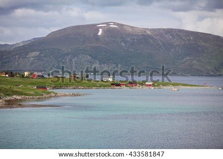 Landscape view to nordic village - stock photo