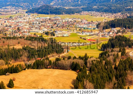 Landscape view to town Reutte in Austria with alps in the background. Tyrol, Austria. - stock photo