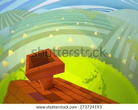 Landscape view with Hills, Meadows and House with Chimney. Digital background raster illustration for kids book. - stock photo