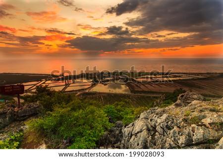 landscape viewpoint at Khao Daeng ,Sam Roi Yod national park,Prachuapkhirik han province Thailand - stock photo