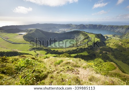 Landscape viewpoint with lakes in Sao Miguel island. Azores. Portugal. Horizontal - stock photo