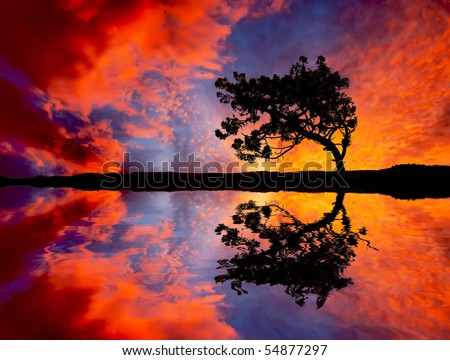 landscape water clouds - stock photo