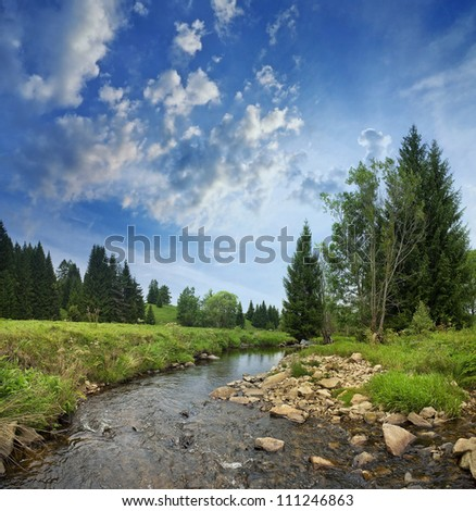 landscape with a beautiful mountain river - stock photo