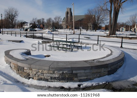 Landscape with a church in Lachine, Montreal - stock photo