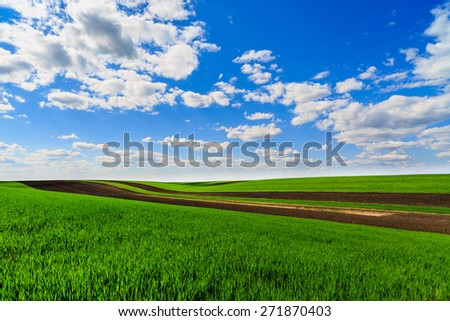 landscape with a farm field under sky with clouds - stock photo