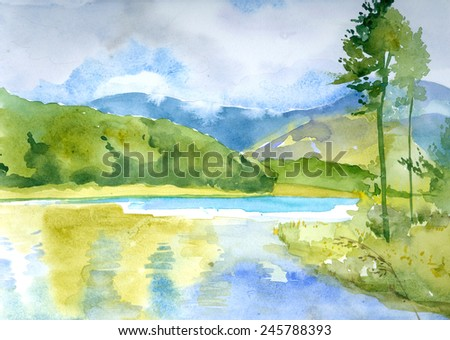 Landscape with a lake. Watercolor - stock photo