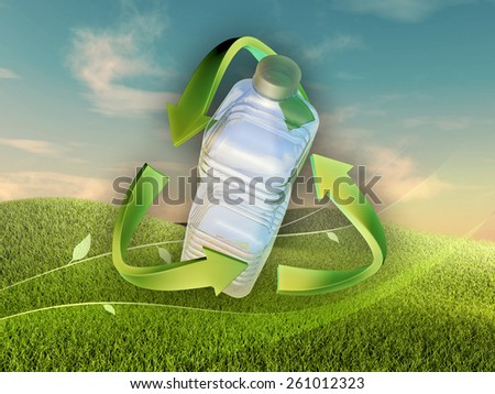 Landscape with a plastic bottle in a recycle sign. Digital illustration. - stock photo