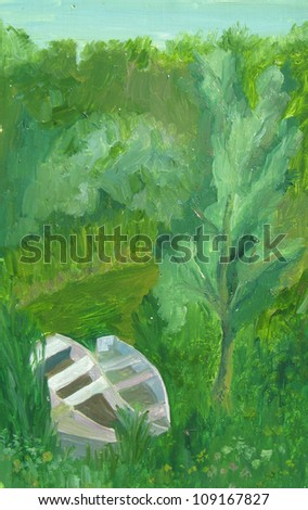 landscape with boat - stock photo