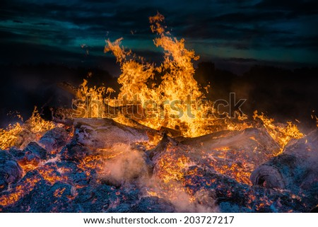 landscape with bonfire, night and bright hot flame - stock photo