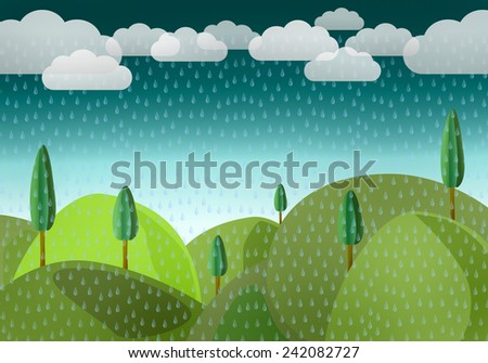 Landscape with by mountains and trees in the rain - stock photo