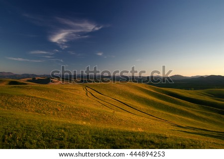 Landscape with country road to the valley in the spring foothills at fields with yellow grass of Altai mountains at sunset under sunset clear blue sky with white clouds, Siberia, Russia - stock photo