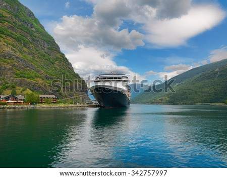 Landscape with cruise ship at Sognefjord in Norway - stock photo