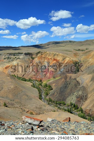 Landscape with deposit of colorful clay in the Altai Mountains or Mars valley - stock photo