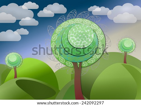 Landscape with fantastic fairytale tree  in the mountains  - stock photo
