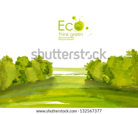 Landscape with fields  and hills from watercolor stains. Think Green. Ecology Concept. - stock photo