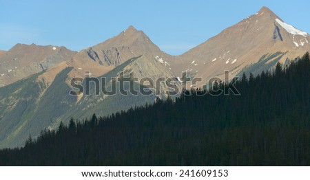 Landscape with forest in British Columbia. Field. Canada. Horizontal - stock photo
