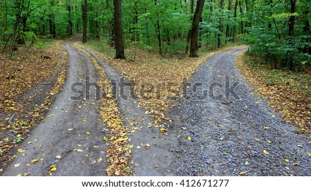Landscape with fork rural roads in autumn forest - stock photo
